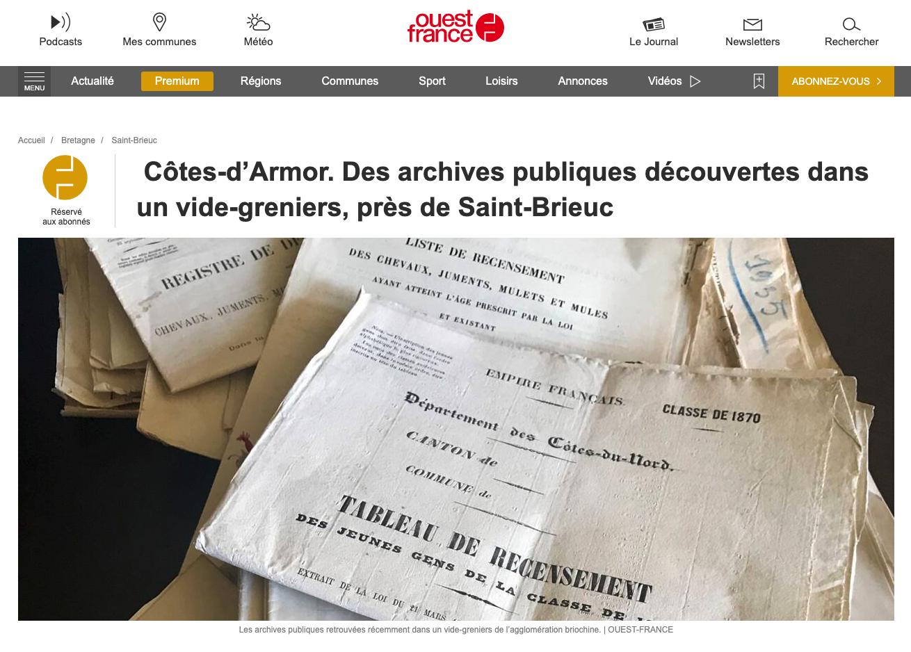 Côtes d'Armor : des archives communales étaient en vente dans un vide-grenier