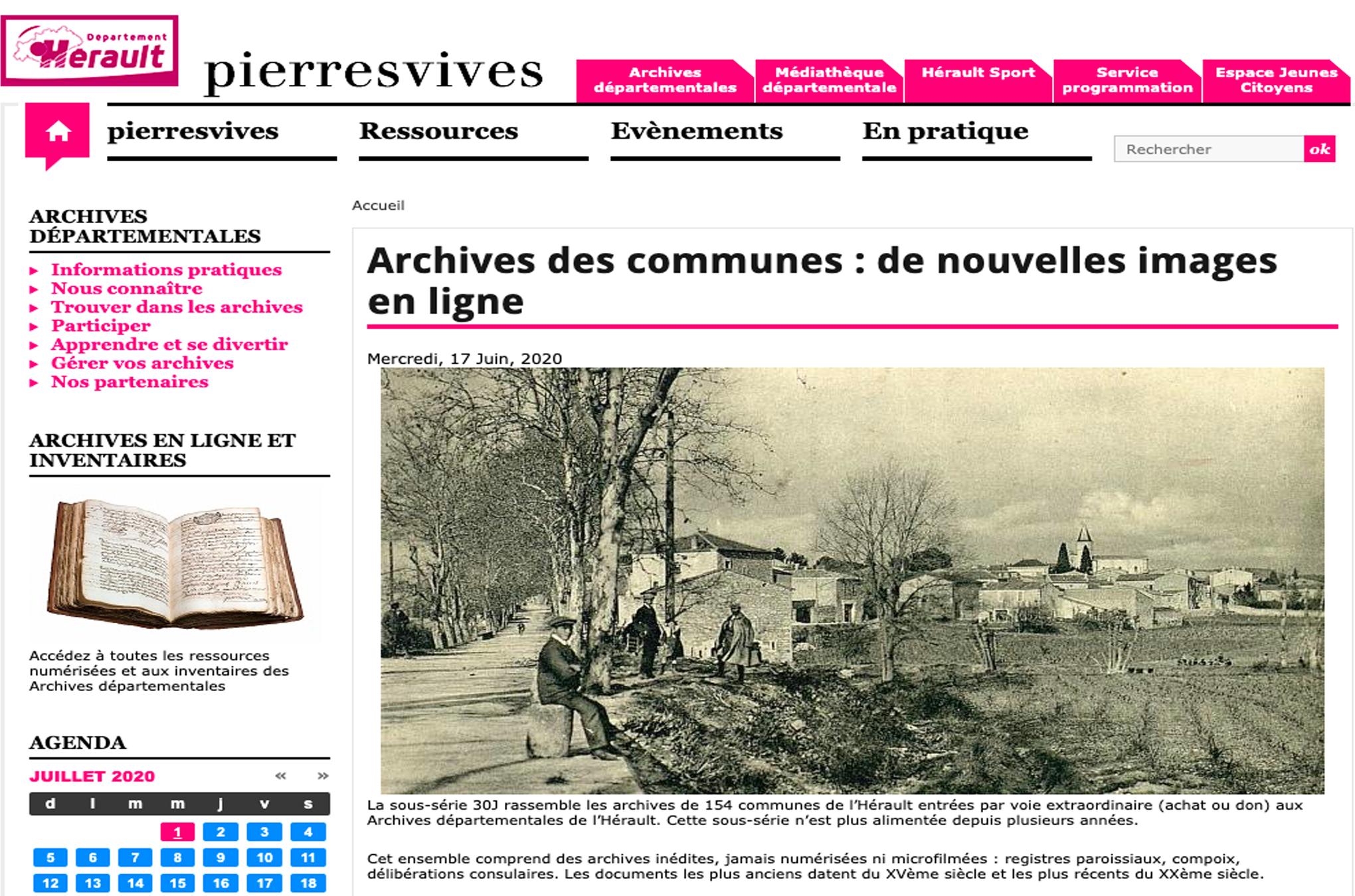 Hérault : de nouvelles archives communales en ligne