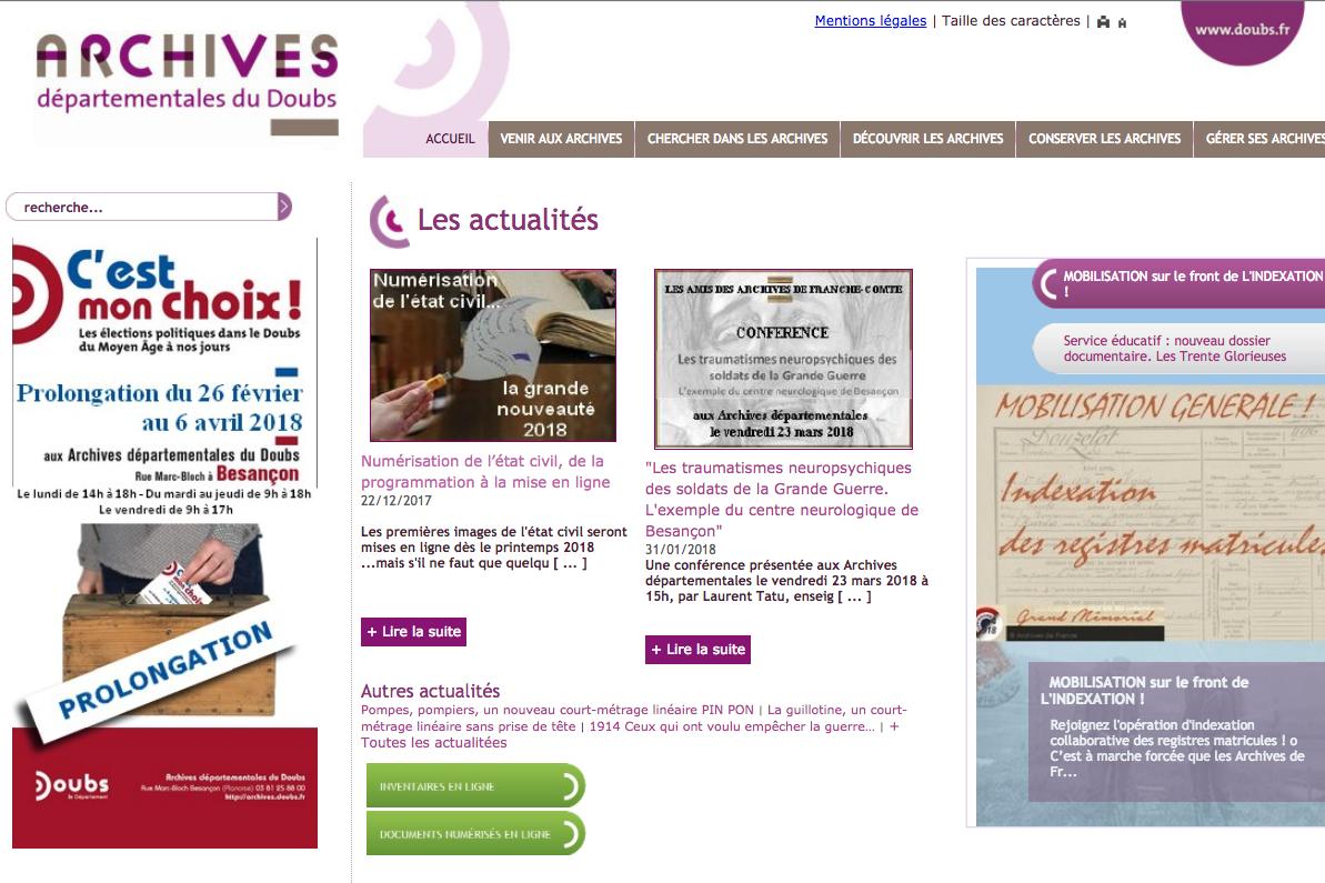La grande mise en ligne se rapproche pour les archives du doubs - Archives du doubs tables decennales ...