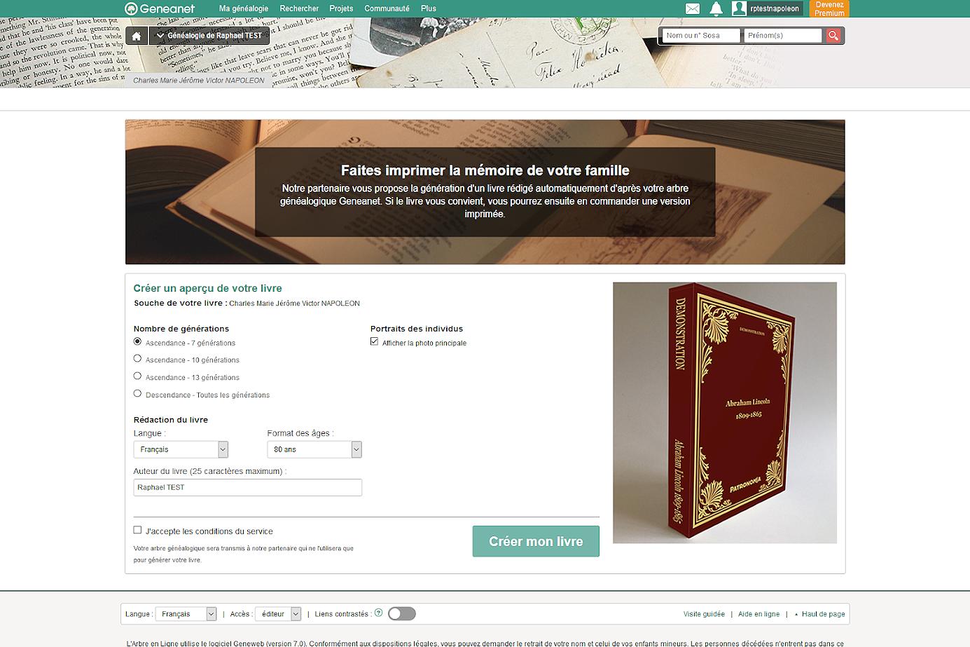 Le livre automatique Patronomia partenaire de Geneanet